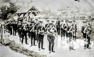 Ilmington brass band at Welford Flower show c1914/18