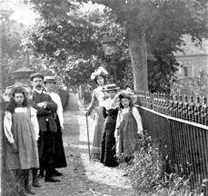 Outside C of E Church 1895 - Note the churchyard railings