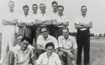 Ilmington cricket club 1950s. Les Hall, Reg Clarke, Chris Dowler, R Grumley, J Bryan, J Gaydon, Bertie Wyton, E Cooke, A Cooke, P Cooke, Laurie Taylor