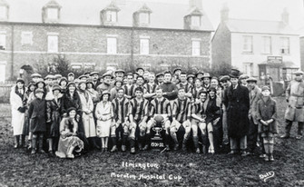 Moreton Hospital Cup 1931-32 - Goalkeeper (in grey jersey) Cyril Lyne from Shipston