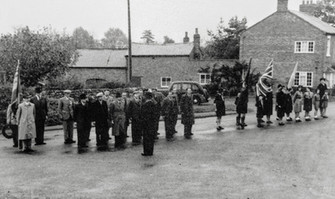 Remembrance day parade 1955 - British legion & scouts. Girl guides & Mrs Hardman