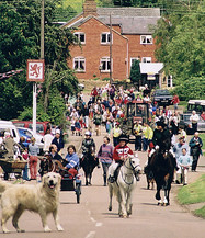 The start of the Jubilee Jaunt from the Red Lion. Sarah Holman on horseback