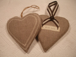 Pair of hearts embroidered 'With Love'