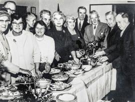 Wednesday club party - Mrs Garnett, Mrs Dumbelton, Mrs Wilkins, Mrs Lester, Mr Wilkins, Flo Horne, Mrs S Handy, F Dumbleton, M Hanson, Sam Handy, Len Sabin