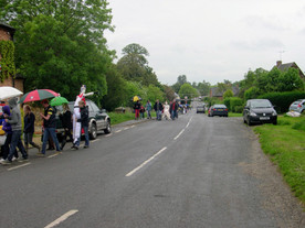 Procession to the marquee for judging of scarecrow competition