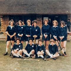 Ilmington hockey team 1960s - Back row from left:  Terry Hall, ?,  Margo Haines,  Goal keeper June Hands nee Sabin, ?, ?, ?. Front row:  Sheila Sabin, Irene Sabin, Anne Batchelor