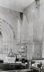 St Mary's interior 1920s. Note position of organ at foot of belfry steps