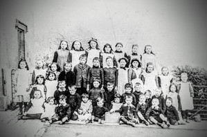 Ilmington RC school - Back row: 4th from left, Gerald Baylis, 3rd, Eunice Frost. 3rd row: 3rd from right, Myra Biles, 5th, Dora Ingram. 2nd row: 3rd from left,Celia Rouse, 5th, Charlotte Cooke, 6th, Florence Cooke, Sid Cooke, Tommy Wilkins, Bernard Wilkins, Evelyn Wilson, Jack Cooke