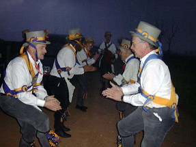 Dancing at dawn on Ilmington Down May Day 2001