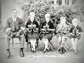 Hand bell ringers - L to R: Horace, Jess, Amy, George and Mary Terry