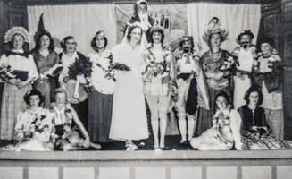 WI pantomime - 1950s - Francis Sabin, Mrs Wyton, Helga Harris, Miss Freemen, Mrs Dumbleton, Mary Empson, Muriel Hargreaves, Miss Everett, Rita Randall, Mrs Boswell, Mrs Gaydon, Zena Collett, Mary Boswell, Michael Empson, Betty Bryan