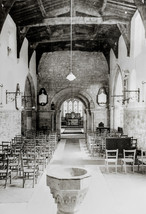 St Mary's interior. Note chairs prior to oak pews fitted in 1930s