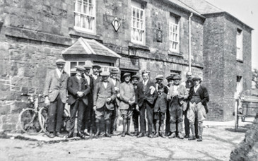 Group of regulars outside the Red Lion