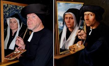 Jacob Cornelis painting a portrait of his wife