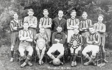 Ilmington football team 16-4-32. Back row: Ingles, Davidson, Wilson, Rev Edge, L Ganley, J Barnes, M Bubb. Front: G Biles, B Wyton, Frank Boswell, Ron Gormley, G Barnes