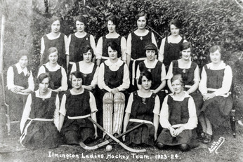 Ilmington ladies hockey team 1923-24. Back: Myra Biles, Phyllis Firkins. 2nd row, 2nd from left: Flo Biles. Front: Ivy Firkins & 2nd from right, Norah Righton (of Hidcote Boyce. Her granddaughter & great grandchildren live in Ilmington)