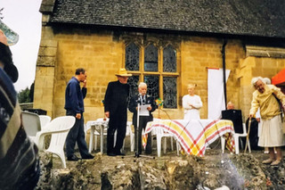 Dickie Summers celebrating his 95th birthday at the Roman Catholic church. Father Tony acting as host. May Queen - Jessica Hawkins. c1996