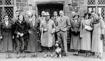 The Empire broadcast, Christmas day 1934. Back row (L-R): F Mayo, G Cook, F Boswell, G Hands, W Venables, T Cook. Front row (L-R): Mrs A Freeman, Mrs B Faulkner, Mrs Robotham, Walton Handy, Spenser Flower (compere), Mrs Bennett, Miss G Smith, Miss Freda Bryan