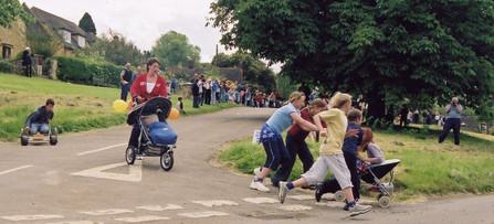 Pram race: Winner (far left) was Oliver Gallant aged 8