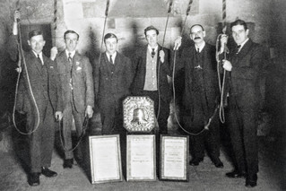 Church bell ringers - 4 shires shield. From right: George Hands, Frank Boswell, Tom Hands, Charles MAtthews, Horace Terry, Charles Sabin