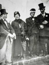 Coronation day 2-6-1953. L- R: B Bramble, Mrs Maisey, Len Sabin, Sam Freeman
