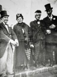 Coronation day 2-6-1953. L- R: B Bramble, Mrs Maisey, Len Sabin, Sam Freeman