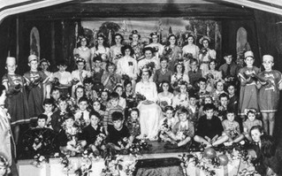 Ilmington school May day (1954ish). Susan Wilson, May Queen