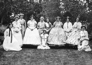 Manor pageant - Carol Freeman,Phyllis Stevenson, Ivy Firkins, Jumny Frost, Mrs Way, Peggy Davies,Sheila Cooke (Front), Mrs Ashbourne, Bessie Warren, Eunice Sabin