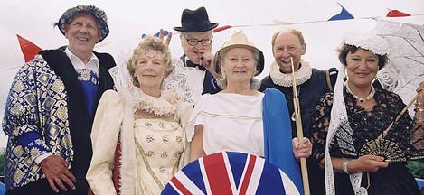 Six Great Brits: (l to r) Henry VIII John Cooke; Queen Elizabeth I Nora Wright; Winston Churchill Dennis Flower; Britannia Terry Hall; Shakespeare Bill Merrington; Queen Victoria Mary Waterman