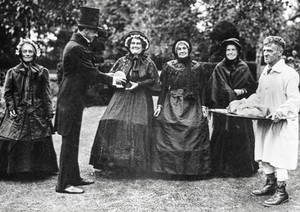 1936 pageant - Mrs Kinchin, Rev Gordon Clarke, Mrs Handy, Mrs Tom Smith, Mrs Arthur Hands, Sam Bennett