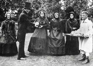 1936 pageant - Mrs Kinchin, Rev Gordon Clarke, Mrs Handy, Mrs Tom Smith, Mrs Arthur Hands, Sam Bennett