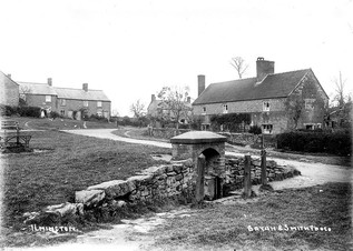 Lower Green well and some cottages. 1900s