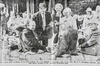 At a party given in honour of his 90th birthday, Mr IG Edwards (seated left) talks to his host, Mr PJ Jewesbury (seated) and other guests, members of the Ilmington Wednesday Club