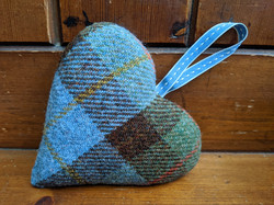 Light blue tartan heart