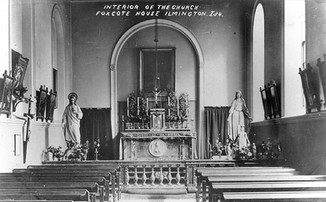 The interior of the catholic church at Foxcote House, Ilmington. 1900s