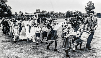 May Day 1953 - Mary Boswell, May Queen. Teacher: Rev Davies. Win Sabin next to R Davies