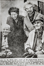 Miss AW Ward (L), leader of the newly formed WRVS Wednesday Club, and the secretary, Mrs FE Horne, welcoming two of the eldest guests to the inugaral meeting in Ilmington Village Hall. They are Mr C Sabin, aged 81, and Mrs ME Garrett, 82