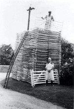 Mike Vincent & Charlie Sabin with a stack of 24 dozen hurdles ordered to go to Berwick on Tweed