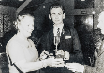 Bowls doubles winner 1971 (Fred Williams?). Mrs Doherty presenting cup