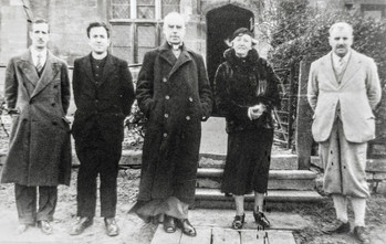 Turning the RC School into Church - From left: Architect EH Sharp; Father Connick; Archbishop of Birmingham, the Most Rev Dr Thomas Leighton Williams; Ursula, Lady Lawson; Builder Edgar Hartwell