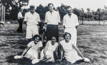 Ilmington tennis club 1950s. Back: l Taylor, G Hands, F Boswell. Front: M Empson, Peggy Davies, F Horne
