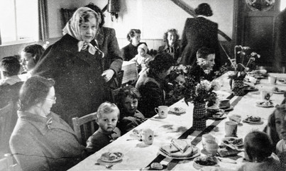 Coronation tea in village hall, June 1953. Mrs Spenser Flower behind her grandchildren Martin & Robin Taylor and left of them Nannie Wise
