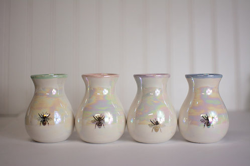 Colored Rim Iridescent Bee Bud Vases