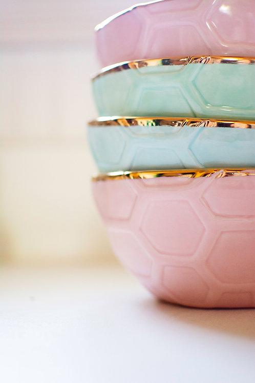 Pastel Gilded Honeycomb Bowls