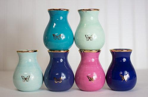 Gilded Butterfly Bud Vases