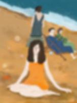 Baigneuse sur la plage de Deauville (Cal