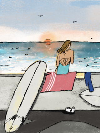 Une surfeuse à Biarritz