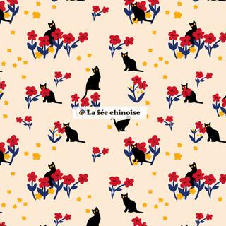 black cat & flowers