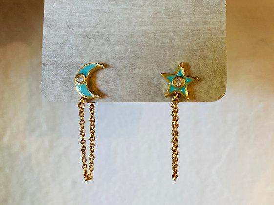 Tai star/moon earrings