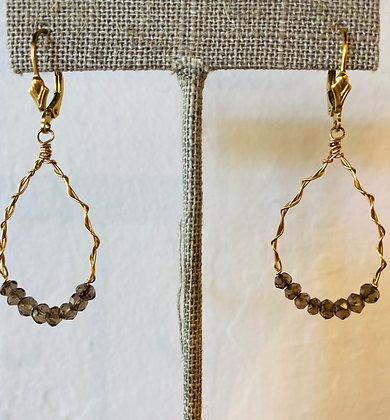 Marit Rae gold wire twist earrings with smokey quartz beading